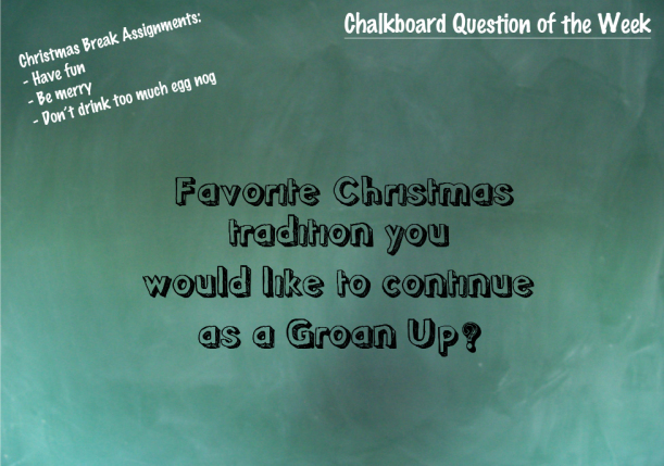 Chalkboard Question: What's your favorite Christmas tradition?