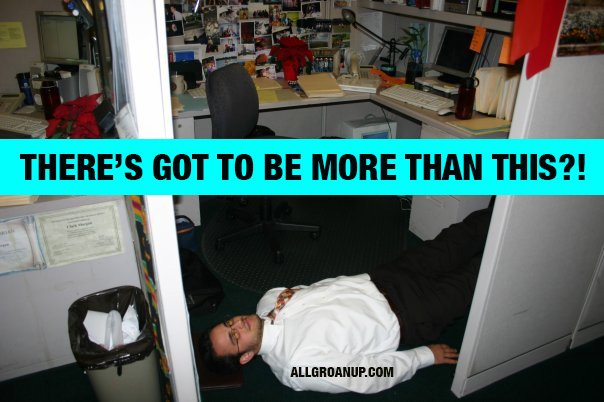 Me half-dead on my cubicle floor